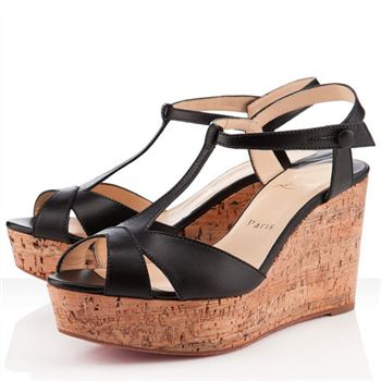 Christian Louboutin Marina Liege 100mm Wedges Black