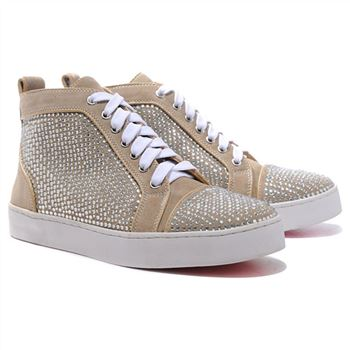 Christian Louboutin Louis Rhinestones Sneakers Taupe