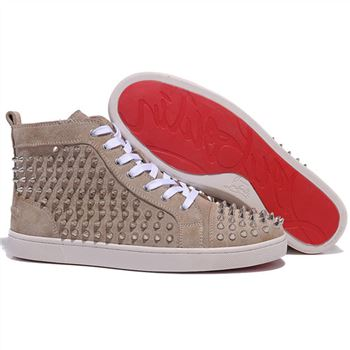 Christian Louboutin Louis Spikes Sneakers Taupe