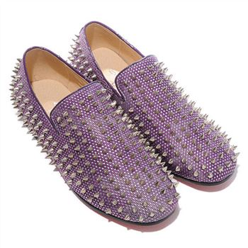 Christian Louboutin Rolling Spikes Loafers Parme