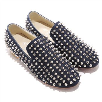 Christian Louboutin Rolling Spikes Loafers Blue