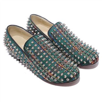 Christian Louboutin Rollerboy Spikes Loafers Green