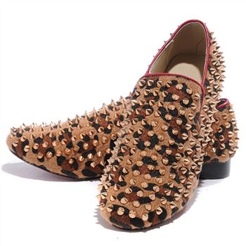 Christian Louboutin Rollerboy Spikes Loafers Leopard