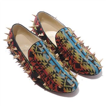 Christian Louboutin Rollerboy Spikes Loafers Multicolor