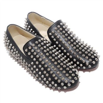Christian Louboutin Rollerboy Silver Spikes Loafers Black