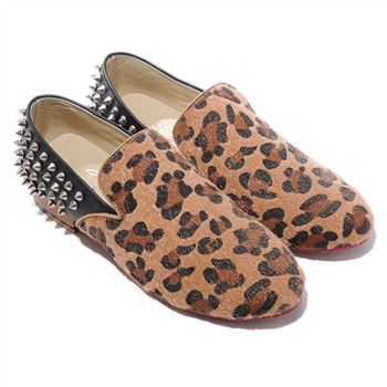 Christian Louboutin Rollerboy Silver Spikes Loafers Leopard