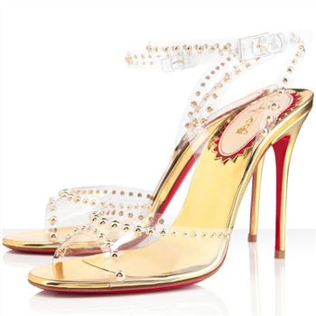 Christian Louboutin Icone A Clous 100mm Sandals Gold