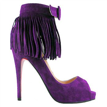 Christian Louboutin Short Tina Fringe 120mm Special Occasion Parme