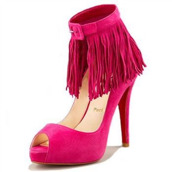 Christian Louboutin Short Tina Fringe 120mm Special Occasion Pink