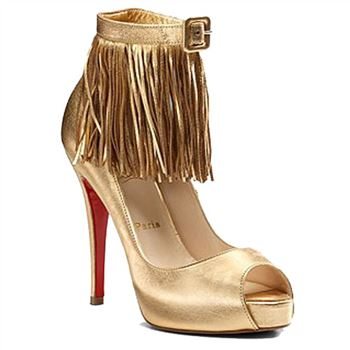Christian Louboutin Short Tina Fringe 120mm Special Occasion Gold