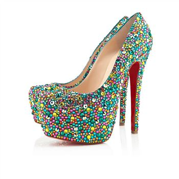 Christian Louboutin Highness Strass 160mm Peep Toe Pumps Multicolor