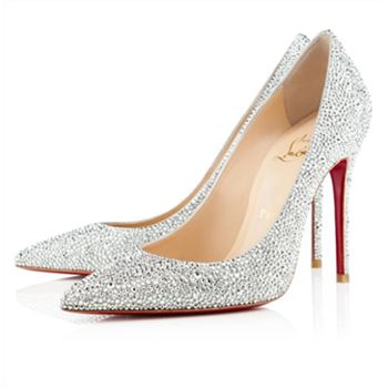 Christian Louboutin Decollete 554 Strass 100mm Pumps Silver