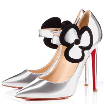 Christian Louboutin Pensee 120mm Mary Jane Pumps Silver