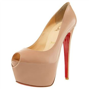 Christian Louboutin Highness 160mm Peep Toe Pumps Beige