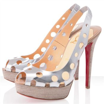 Christian Louboutin Ginza 140mm Peep Toe Pumps Argento
