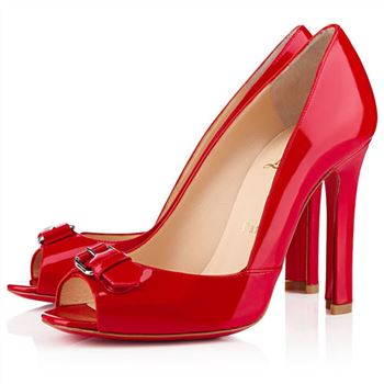 Christian Louboutin Openbelt 100mm Peep Toe Pumps Red