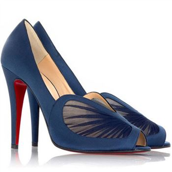 Christian Louboutin Papilipi 100mm Peep Toe Pumps Blue