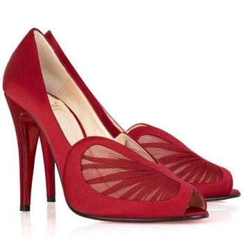 Christian Louboutin Papilipi 100mm Peep Toe Pumps Red