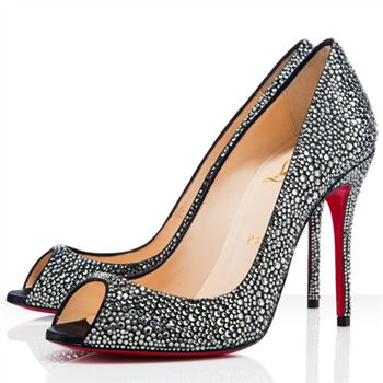 Christian Louboutin Sexy 100mm Peep Toe Pumps Grey
