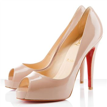 Christian Louboutin Very Prive 120mm Peep Toe Pumps Nude