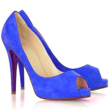 Christian Louboutin Very Prive 120mm Peep Toe Pumps Blue