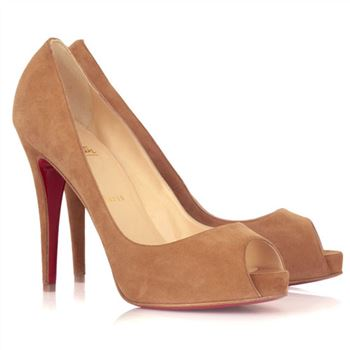 Christian Louboutin Very Prive 120mm Peep Toe Pumps Camel