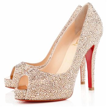 Christian Louboutin Very Riche Strass 120mm Peep Toe Pumps Nude