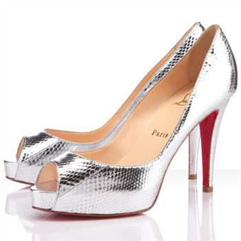 Christian Louboutin Very Prive 100mm Peep Toe Pumps Silver