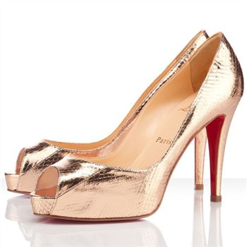 Christian Louboutin Very Prive 100mm Peep Toe Pumps Gold