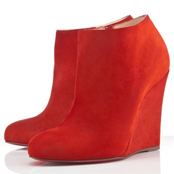 Christian Louboutin Belle Zeppa 100mm Ankle Boots Red