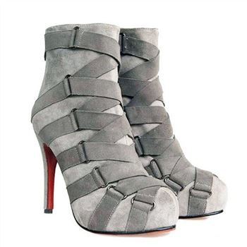 Christian Louboutin Nitoinimoi Bandage 120mm Ankle Boots Grey