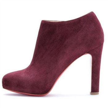 Christian Louboutin Vicky Booty 120mm Ankle Boots Plum