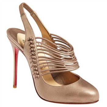 Christian Louboutin Mille Cordes 100mm Slingbacks Champagne